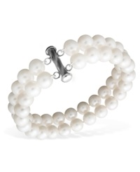 Macy's Pearl Bracelet Sterling Silver Cultured Freshwater Pearl Two Row 8 1 2 9 1 2Mm