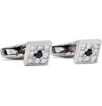 Deakin And Francis 18 Karat White Gold Diamond Sapphire Cufflinks Silver