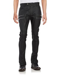 Laboratory Lt Man Faux Leather Moto Jeans Black