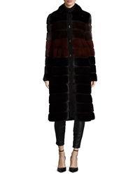J. Mendel Colorblock Horizontal Mink Fur Coat Black Garnet Mahogany