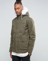 Hype Parka With Faux Fur Hood Khaki Green