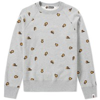 A Bathing Ape Milo Monogram Crew Sweat Grey