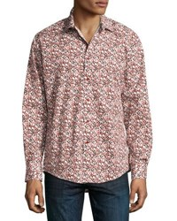 1 Like No Other Circle Print Button Front Sport Shirt Burgundy