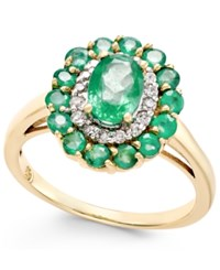 Macy's Emerald 1 5 8 Ct. T.W. And Diamond 1 6 Ct. T.W. Oval Floral Ring In 14K Gold Green