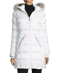 Bogner Selina Quilted Coat With Removable Fur Trim Hood White