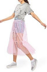 Topshop Women's Tulle Overlay Denim Skirt Pink Multi
