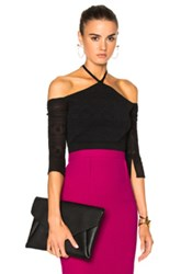 Roland Mouret Grace Circular Ripped Knit Top In Black
