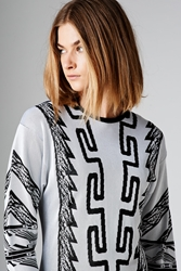 Anthony Vaccarello X Versus Pattern Knit Sweater White Black