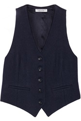 Current Elliott Charlotte Gainsbourg The Suit Vest Shrunken Wool Blend Vest Blue