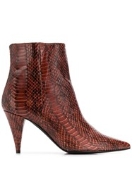 Marc Ellis Embossed Pointed Boots Brown