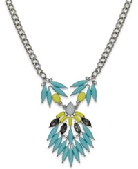 Bar Iii Silver Tone Mint Yellow Feather Stone Pendant Necklace
