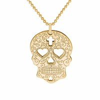 Cartergore Gold Sugar Skull With Heart Eyes Pendant Necklace