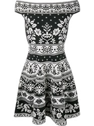 Alexander Mcqueen Floral Jacquard Mini Dress Black