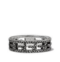 Gucci Engraved Burnished Sterling Silver Ring Silver