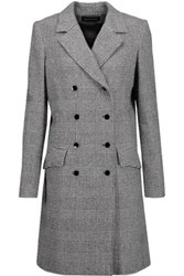 Vanessa Seward Double Breasted Glen Plaid Wool Blend Coat Gray