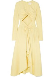 Dion Lee Embellished Cutout Cady Midi Dress Yellow