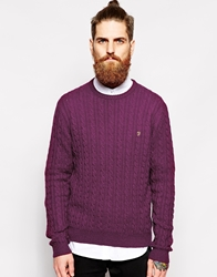 Farah Vintage Jumper With Cable Knit In Regular Fit Red