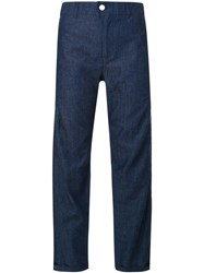 Julien David Cropped Chambray Trousers Blue
