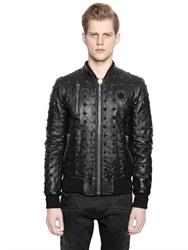 Philipp Plein Stars Embossed Leather Bomber Jacket