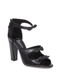 Delman Drue Leather Peep Toe Pumps Black
