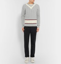 Tomas Maier Slim Fit Cable Knit Wool Cricket Sweater Gray
