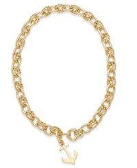 Charter Club Gold Tone Fancy Link Anchor Pendant Necklace Only At Macy's
