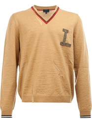 Lanvin Chest Logo Knitted Sweater Nude Neutrals
