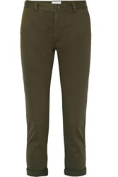 Current Elliott The Confidant Cotton Blend Twill Straight Leg Pants Army Green