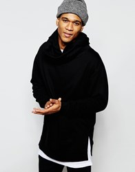Asos Longline Oversized Hoodie With Extreme Funnel In Black Black