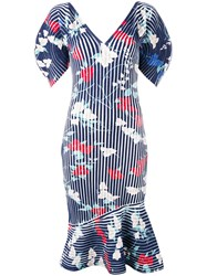 Salvatore Ferragamo Structured Ribbed Print Dress Women Polyester Viscose S Blue