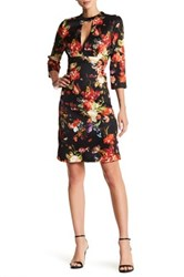 Alexia Admor 3 4 Sleeve Length Floral Plunge Dress Multi