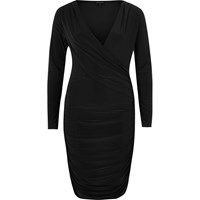 River Island Womens Black Ruched Long Sleeve Bodycon Dress