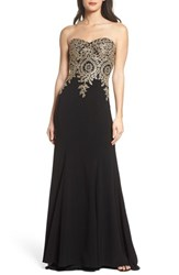 Xscape Evenings 'S Corset Back Embellished Strapless Gown Black Gold