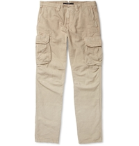 Incotex Cotton And Linen Blend Slim Fit Cargo Trousers Neutrals