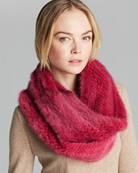 Maximilian Knitted Mink Infinity Scarf Hot Pink
