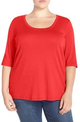 Sejour Plus Size Women's Elbow Sleeve Scoop Neck Tee Red Bloom