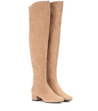Saint Laurent Babies Suede Over The Knee Boots Beige