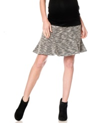 A Pea In The Pod Maternity Tweed Flare Skirt Black Natural Print