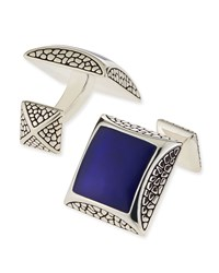 Pebbled Silver Cuff Links With Lapis Stephen Webster