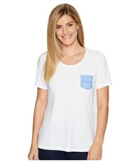 Columbia Harborside Pocket Tee White Harbor Blue Dot Gingham Women's Short Sleeve Pullover