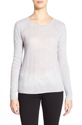 Women's Classiques Entier Mix Stitch Merino Wool Sweater Grey Clay Heather