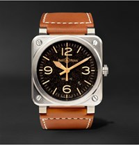 Bell And Ross Br 03 92 Golden Heritage 42Mm Steel Leather Watch Tan