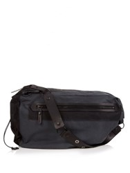 Lanvin Canvas And Leather Messenger Bag Black