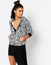 Nike Rally Zip Front Hoodie With All Over Palm Print Black Multi