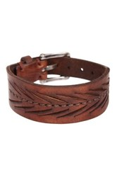John Varvatos Herringbone Detail Mid Cuff Bracelet Brown