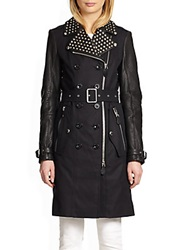 Burberry Studded Collar Leather Sleeve Trenchcoat Black