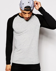 Asos Extreme Muscle Fit Long Sleeve T Shirt With Contrast Raglan Sleeves Greymarlblack