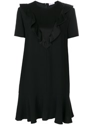 Red Valentino Frilled Applique T Shirt Dress Acetate Viscose Black