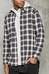 Forever 21 Slim Fit Plaid Shirt Grey Taupe