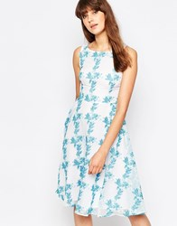 Traffic People Twirl Dress In Floral Print Blue Cream